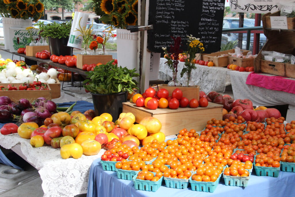 Local yellow red orange heirloom tomatoes at farmers market